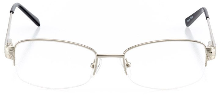 golden: women's rectangle eyeglasses in silver - front view