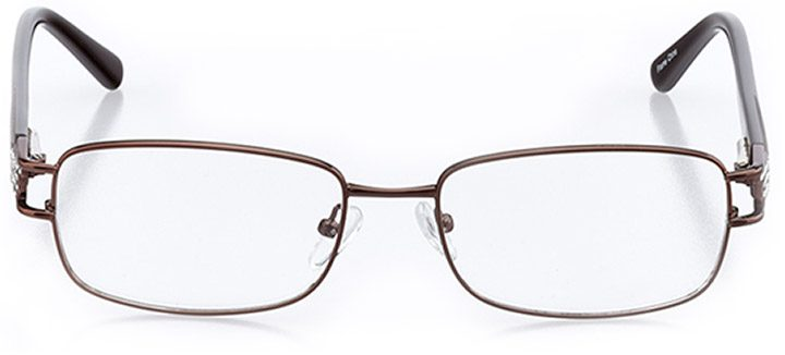 atri: women's rectangle eyeglasses in brown - front view