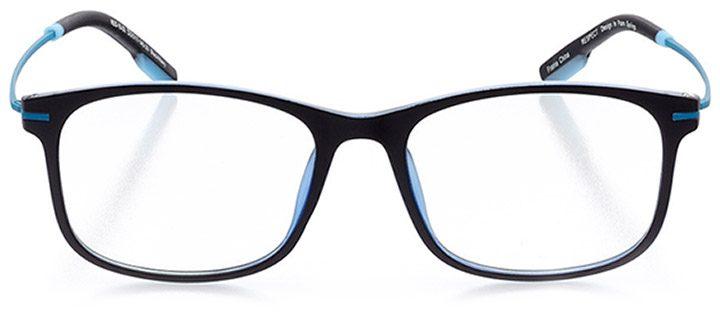 seville: unisex square eyeglasses in black - front view