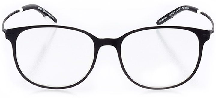 catalonia: unisex round eyeglasses in black - front view