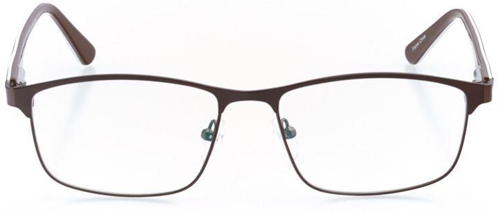 manhattan beach: men's rectangle eyeglasses in brown - front view