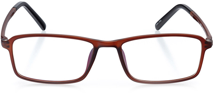 vienna: men's rectangle eyeglasses in brown - front view