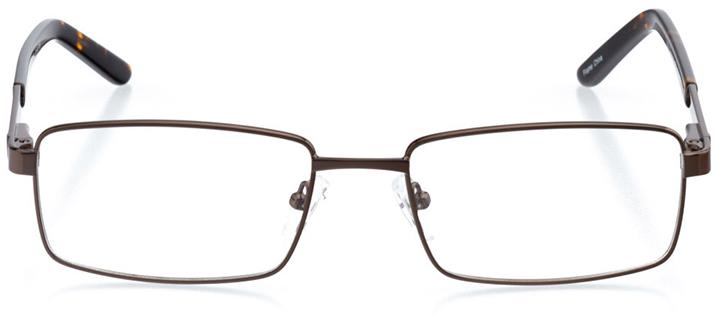 berlin: men's rectangle eyeglasses in brown - front view