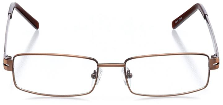 mecca: men's rectangle eyeglasses in brown - front view