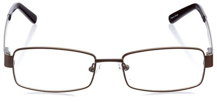 poznan: men's rectangle eyeglasses in brown - front view