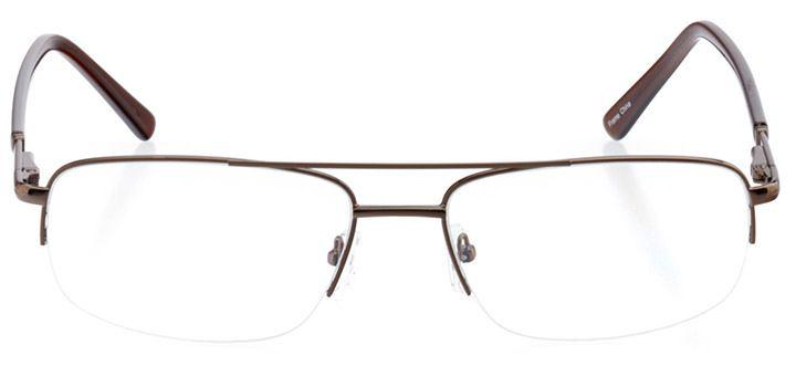 lake tahoe: men's rectangle eyeglasses in brown - front view