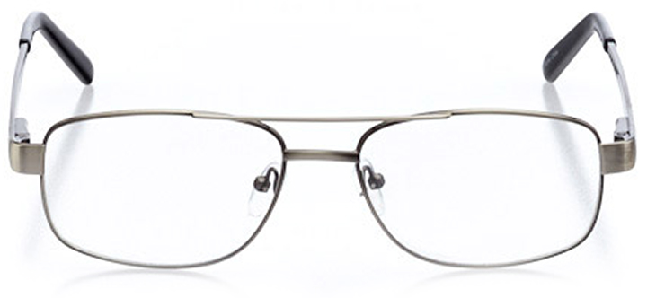 york: men's square eyeglasses in silver - front view