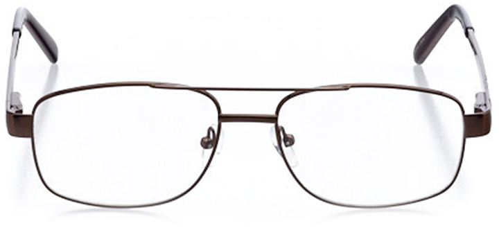 york: men's square eyeglasses in brown - front view