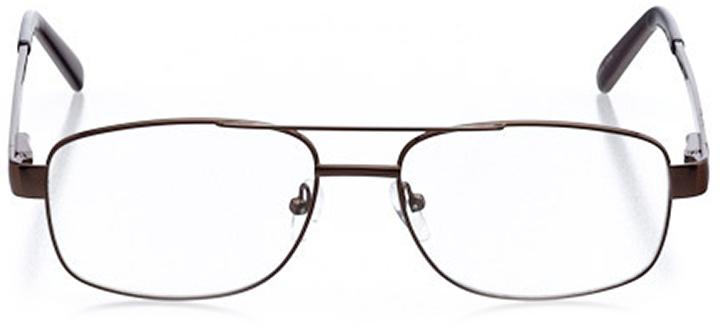 york: men's square eyeglasses in brown - front view