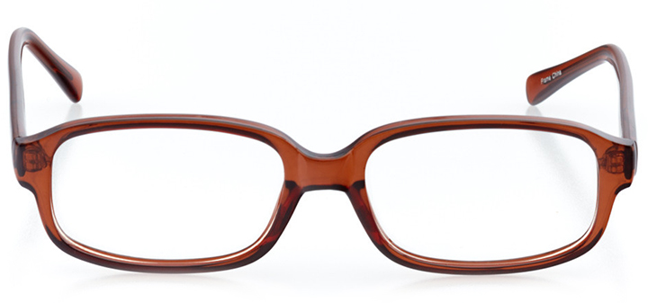 london: men's rectangle eyeglasses in brown - front view