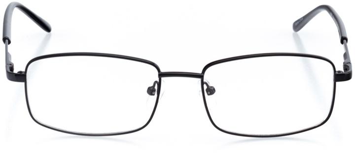 madrid: men's rectangle eyeglasses in black - front view
