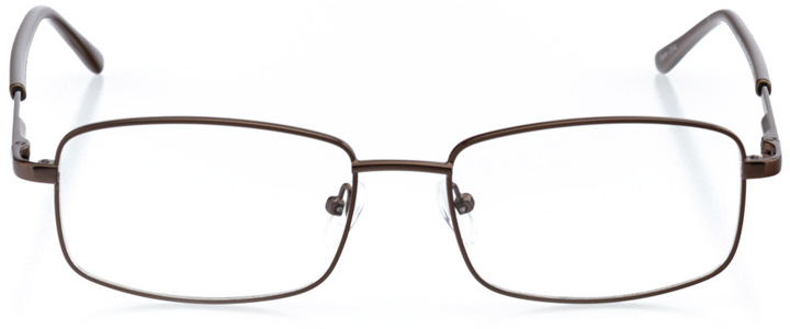 madrid: men's rectangle eyeglasses in brown - front view