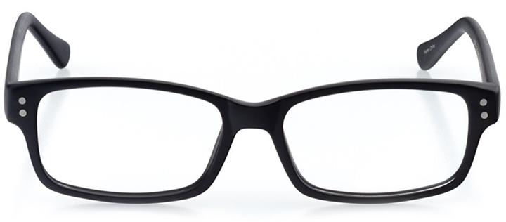 the hague: men's rectangle eyeglasses in black - front view