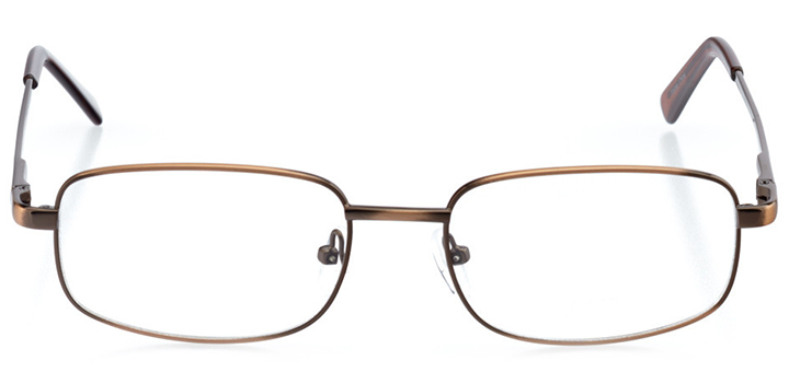 manchester: men's rectangle eyeglasses in brown - front view