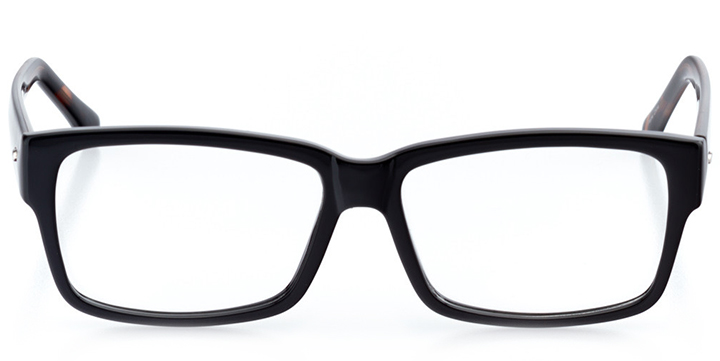 chicago: men's square eyeglasses in black - front view