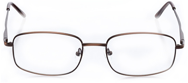 brussels: men's rectangle eyeglasses in brown - front view