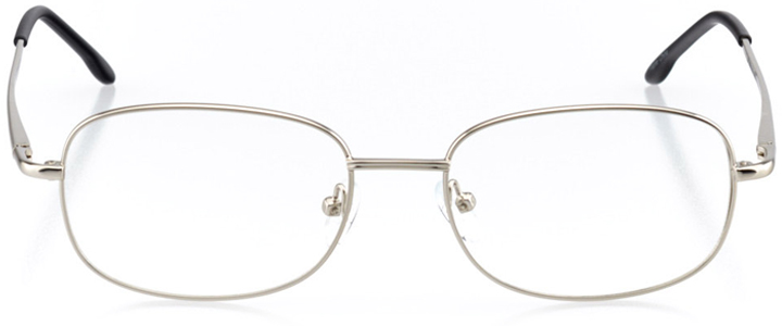 lisbon: men's square eyeglasses in silver - front view