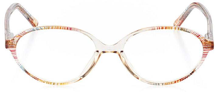 amber valley: women's oval eyeglasses in brown - front view