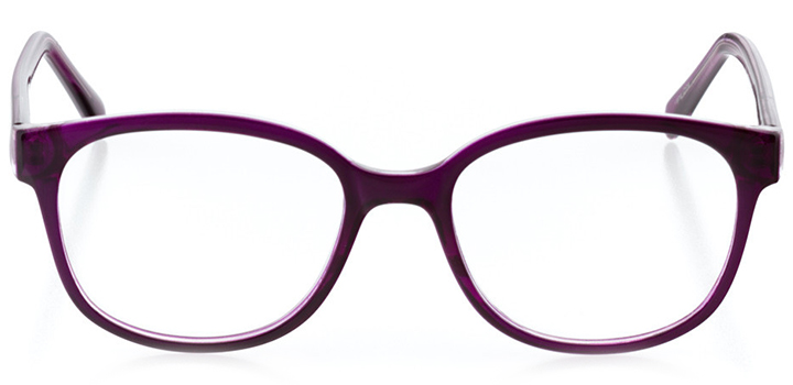 berne: women's square eyeglasses in purple - front view