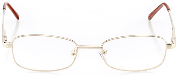 akranes: women's rectangle eyeglasses in gold - front view