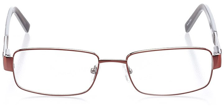 palmetto bay: men's rectangle eyeglasses in brown - front view