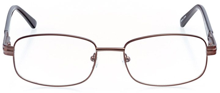 north port: men's rectangle eyeglasses in brown - front view