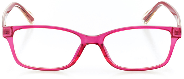 nashua: girls' rectangle eyeglasses in pink - front view
