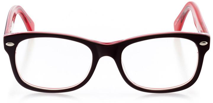 logan: girls' square eyeglasses in pink - front view