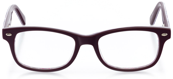 baton rouge: girls' square eyeglasses in purple - front view