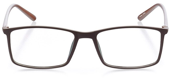 kingsland: men's rectangle eyeglasses in brown - front view