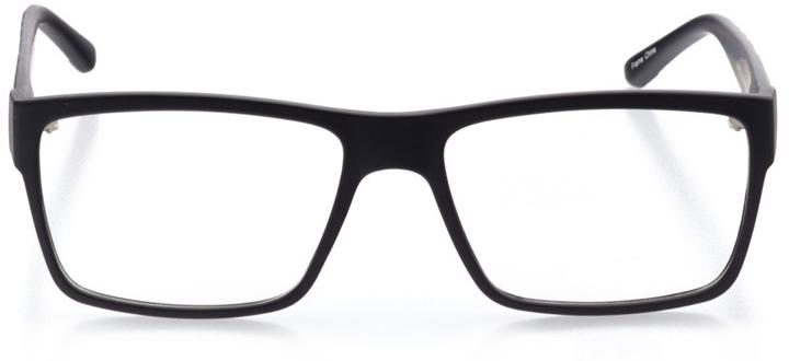 basel: men's square eyeglasses in black - front view