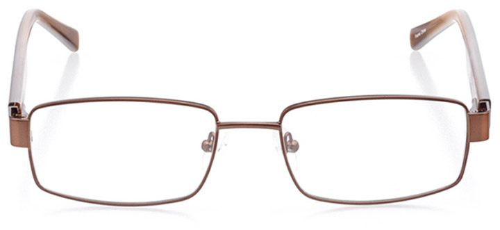 brimfield: men's rectangle eyeglasses in brown - front view
