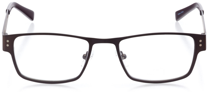 oakland: men's rectangle eyeglasses in brown - front view