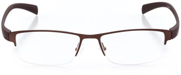 leiden: men's rectangle eyeglasses in brown - front view