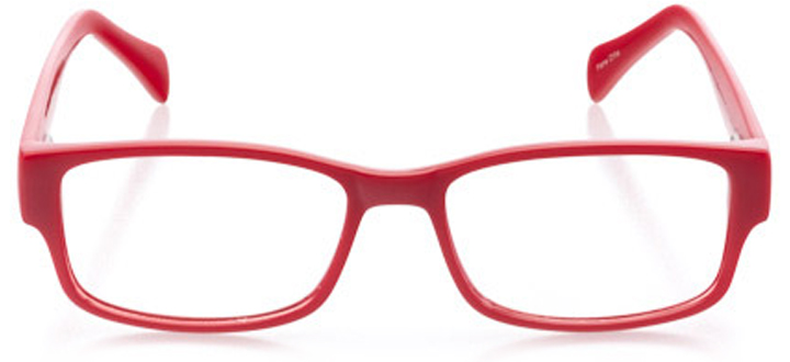 folly beach: men's rectangle eyeglasses in red - front view