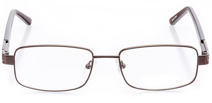 costa brava: men's rectangle eyeglasses in brown - front view