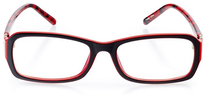 canberra: women's rectangle eyeglasses in red - front view