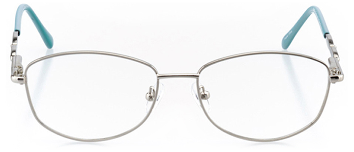 cali: women's square eyeglasses in silver - front view