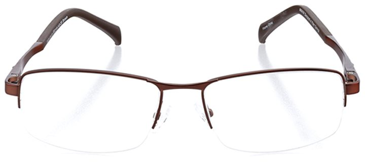 clearwater beach: men's rectangle eyeglasses in brown - front view