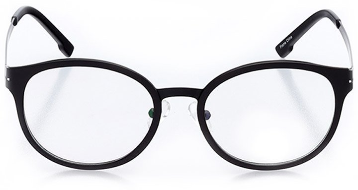 greenwich: unisex round eyeglasses in black - front view