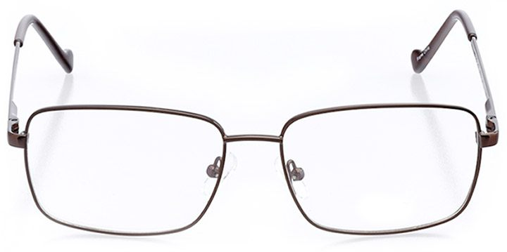amherst: men's rectangle eyeglasses in brown - front view