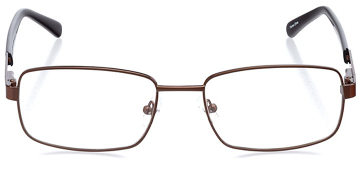 monza: men's rectangle eyeglasses in brown - front view