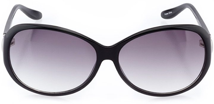 verona: women's oval sunglasses in black - front view