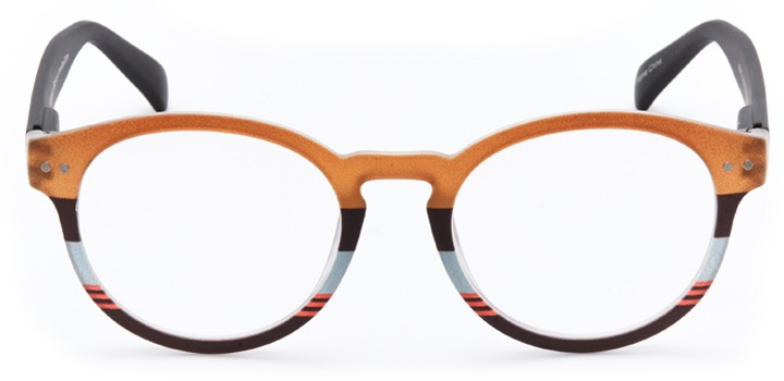 pessac: women's round eyeglasses in brown - front view