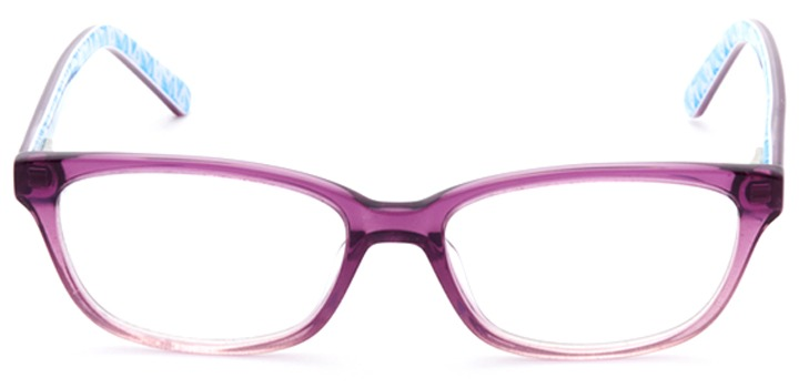 follow your heart: girls's rectangle eyeglasses in purple - front view