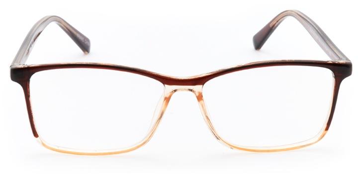 buckingham: rectangular eyeglasses in brown - front view